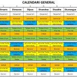 El calendari de les activitats a Colònies